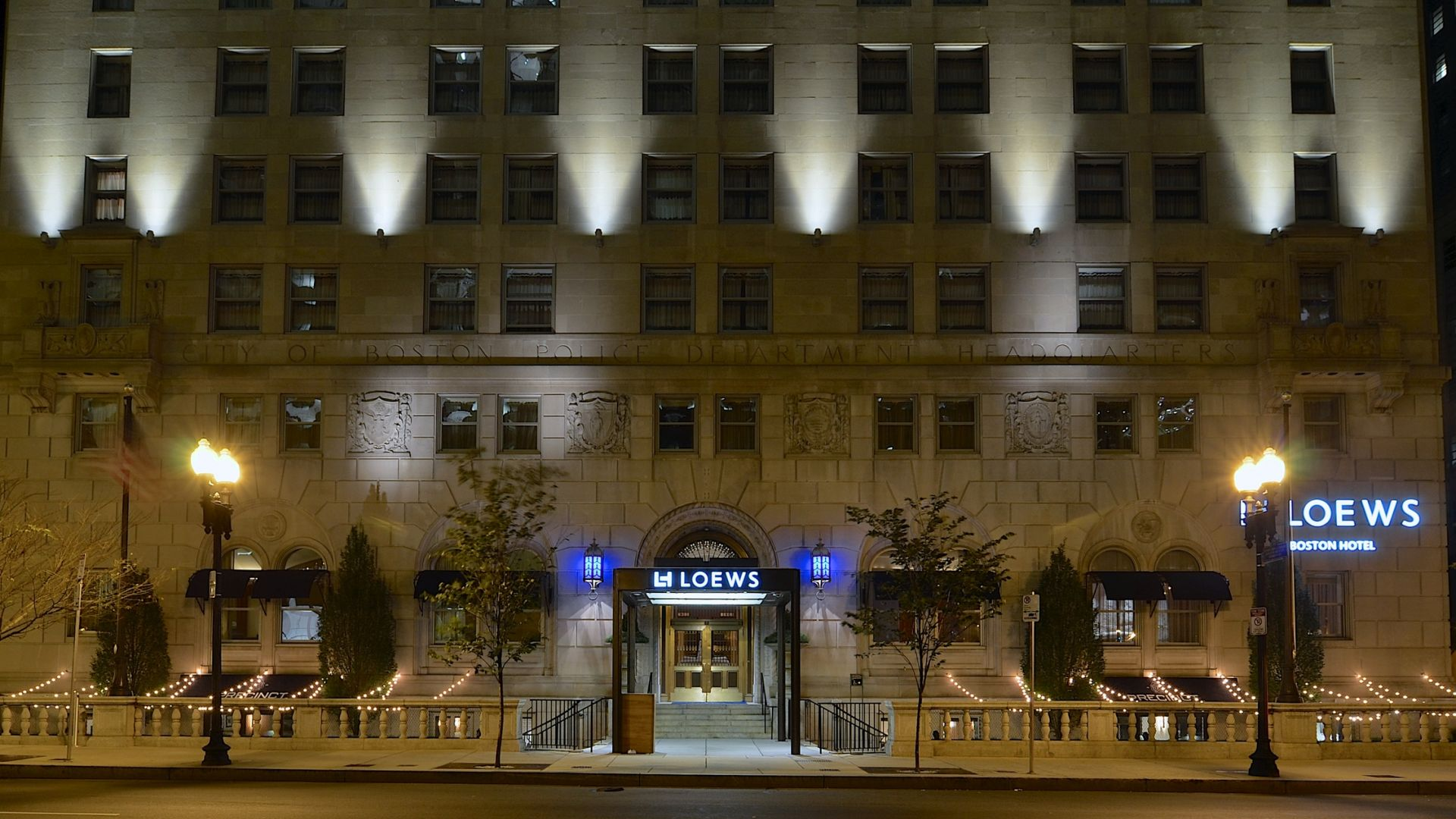 ... Massachusetts Night Exterior of Loews Boston Hotel ...