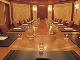 Close-up of the table in the Donatello Boardroom | Loews Portofino Bay Hotel