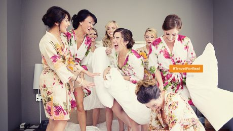 Girls Getaway Group in Floral Robes | Travel For Real | Loews New Orleans Hotel