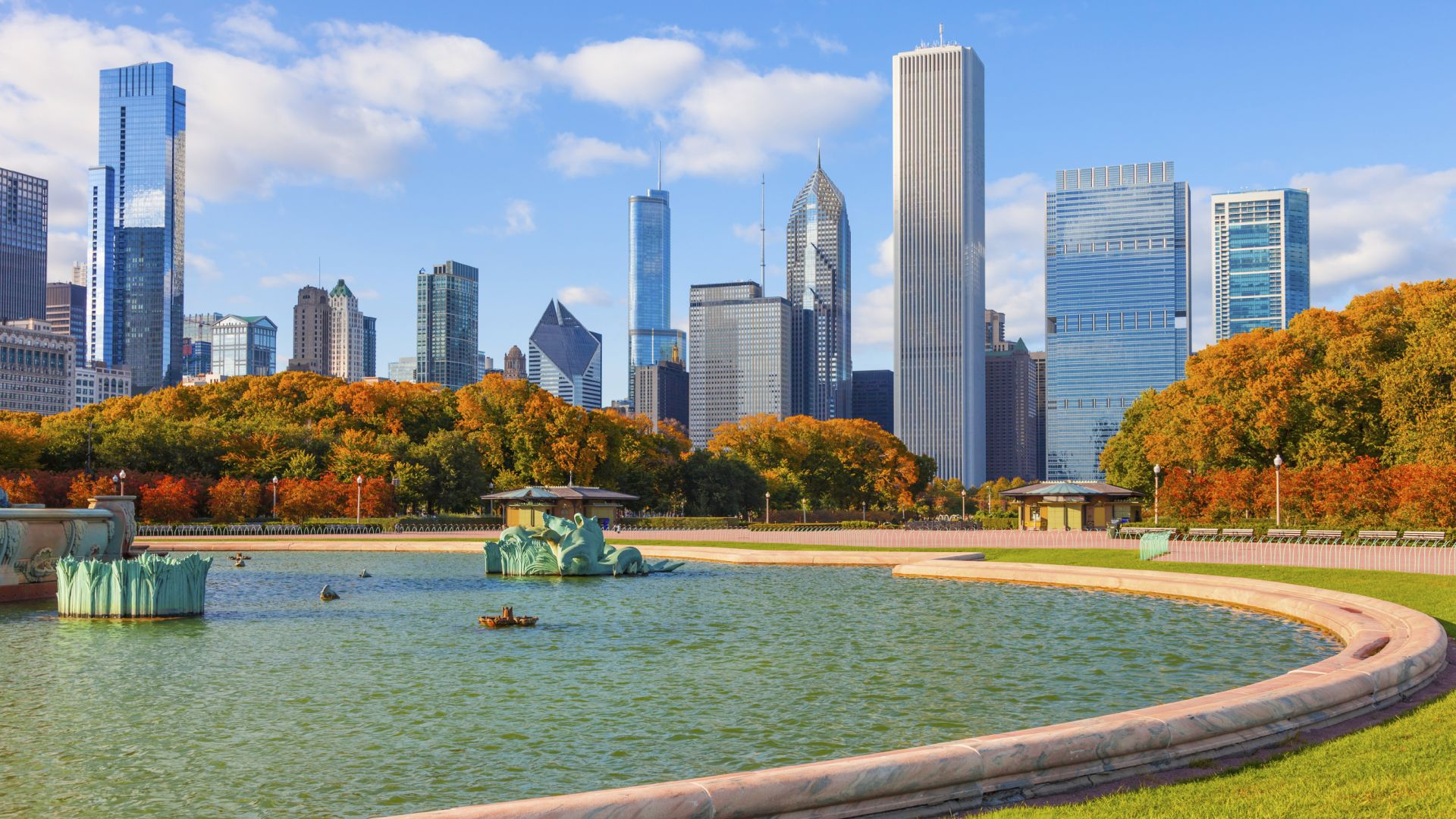 Chicago Skyline with Fall Foliage | Loews Chicago Hotel