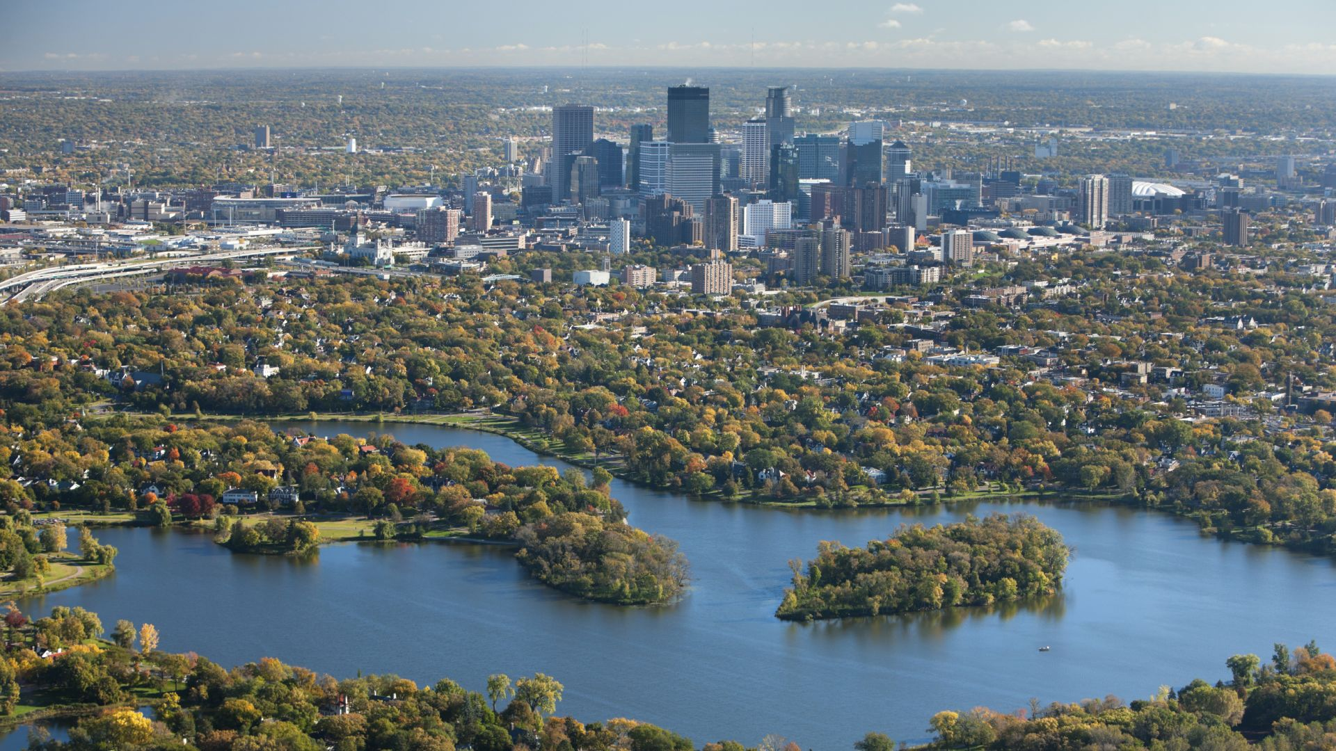 Aerial View of Minneapolis Skyline | Loews Minneapolis Hotel