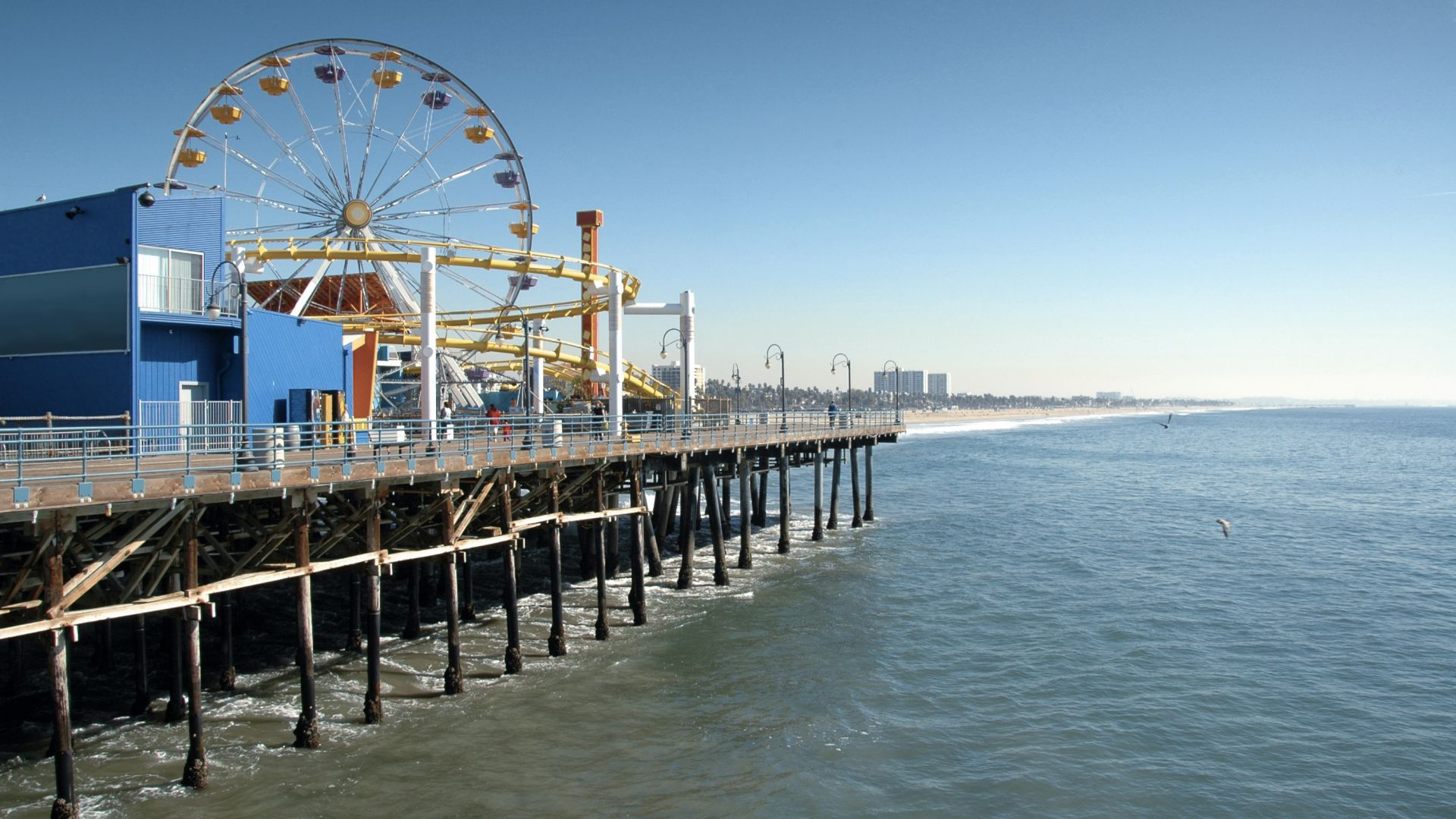 Santa Monica Pier showing the Ferris Wheel and the water