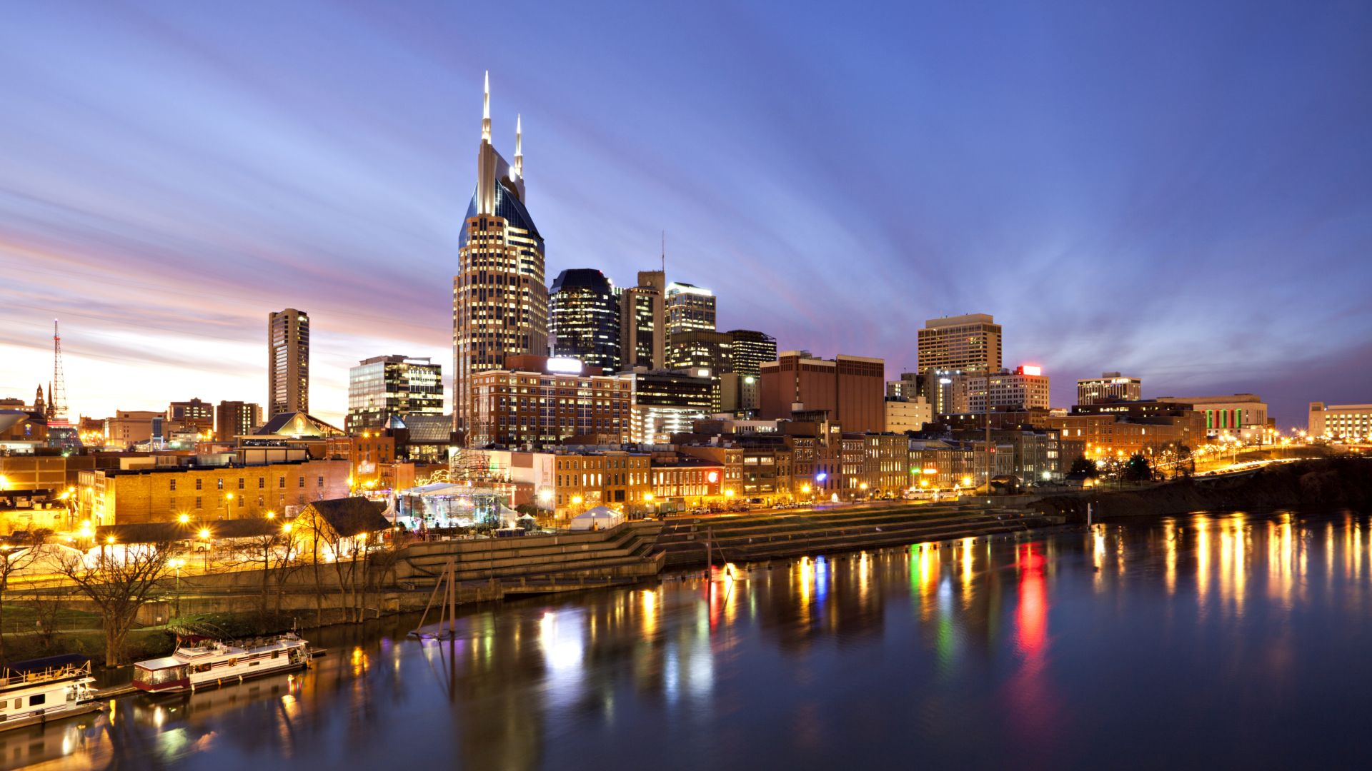 Nashville Skyline at Night Loews Vanderbilt Hotel