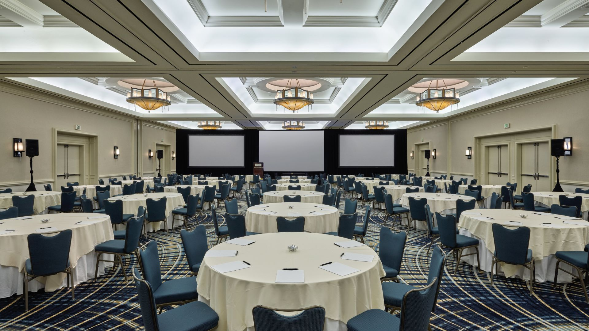 Arcadia Ballroom with table rounds set up